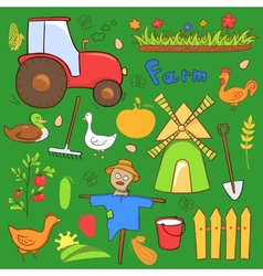 farm cute set in doodle style vector image