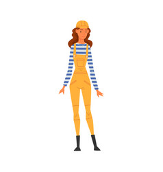 female building worker character wearing hard hat vector image