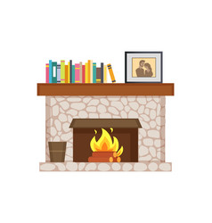 fireplace with shelf books framed photo interior vector image