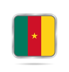 Flag of Cameroon Metallic gray square button vector image