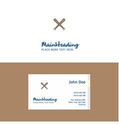 flat baseball bat logo and visiting card template vector image