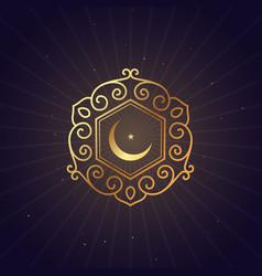 Golden floral style ramadan festival symbol vector