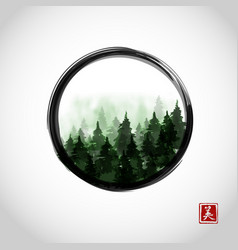 Green misty mountain trees in black enso zen vector
