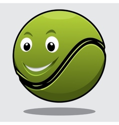 Happy bouncy green cartoon tennis ball vector