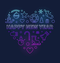 happy new year heart colored modern vector image