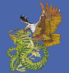 hawk and a dragon vector image