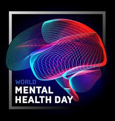 Human brain to world mental health day vector