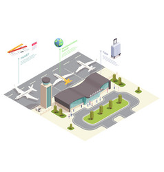 isometric airport field composition vector image