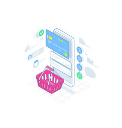 isometric smart phone online shopping on lines vector image