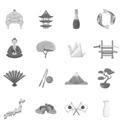 Japan icons set monochrome style vector
