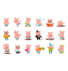 Little cartoon pigs characters posing in different vector