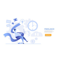 man working at home freelance concept vector image