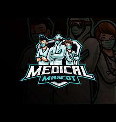 Medical mascot esport logo design vector