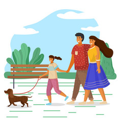 Mother father and daughter family weekend people vector