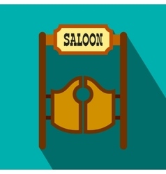 Old western swinging saloon doors flat icon vector image
