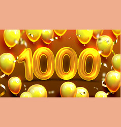 one thousand 1000 with balloon banner vector image