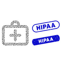 oval collage first aid with textured hipaa stamps vector image