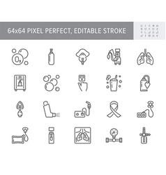Oxygen line icons included vector