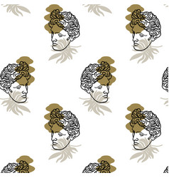 Pattern with hand drawn flat antique head vector