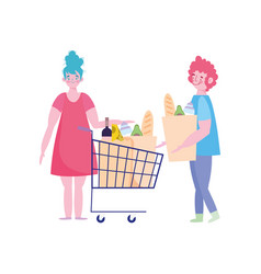 people hoarding purchase couple characters vector image