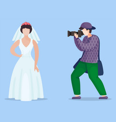 photographer making photo model in wedding vector image