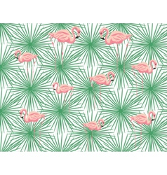 Pink flamingos and palm leaves vector