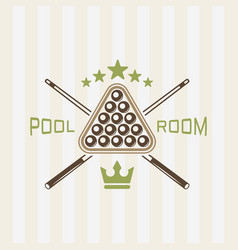 pool room colored emblem vector image