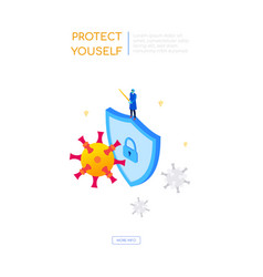 protect yourself from virus - colorful isometric vector image
