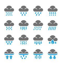 rainy icon set vector image