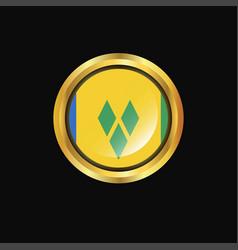 Saint vincent and grenadines flag golden button vector