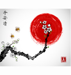 sakura cherry branch in white blossom two bees vector image