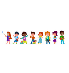 School children multiethnic boys and girls in vector