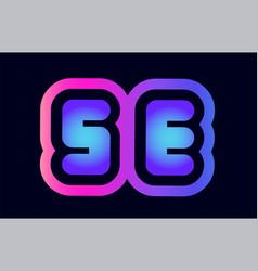 se s e pink blue gradient alphabet letter logo vector image