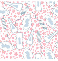 Seamless pattern with menstruation sanitary vector
