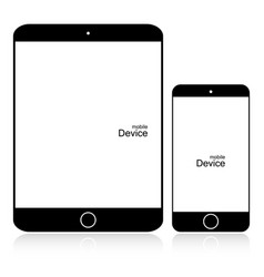 set black phone and tablet on white background vector image