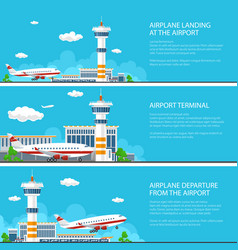 set of airport banners vector image