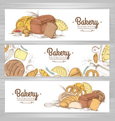 Set retro bakery banners bakery products vector