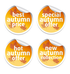 set with offer sale autumn stickers vector image