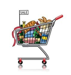 Shopping basket full of products vector