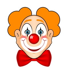 smiling clown with red bow vector image