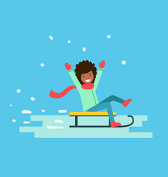 Smiling girl enjoying a sleigh ride winter vector
