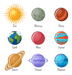 Solar system planets and the sun with names vector