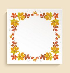 Square frame with autumn leaves border vector