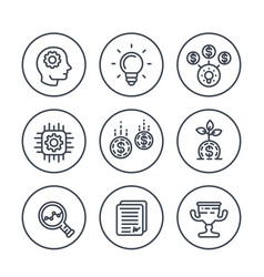 Startup line icons idea capital funding vector