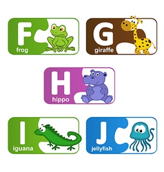 stickers alphabet animals from F to J vector image vector image