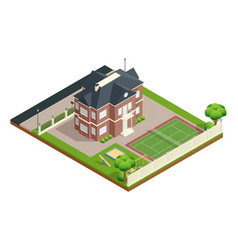suburb house isometric composition vector image