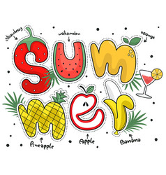 Summer poster with fruit alphabet vector