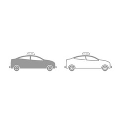 taxi grey set icon vector image