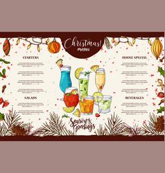 Template for restaurant brochure christmas vector