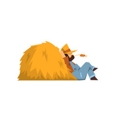 tired farmer resting sitting by the haystack vector image